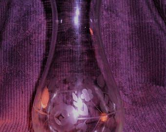 Handblown Etched Glass Vase