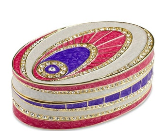 "4.5"" (L) Faberge Crystal Eye Enameled Jewelry Trinket Box- SKU # RS-0510"