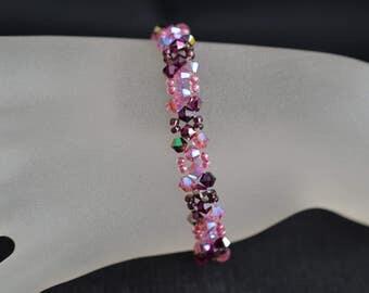 Bracelet fine Swarovski crystal fuchsia electra and pink ab2x