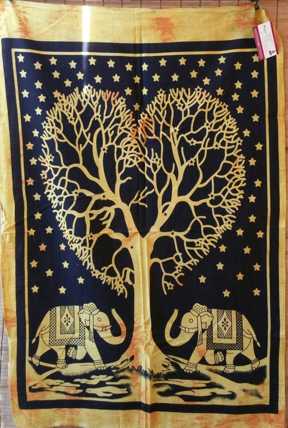 Golden Elephant Tapestry Wall Hangings Wall Decor Tapestry Print Tapestries Elephant Tapestry Boho Tapestry Hippie Tapestry Indian Tapestry