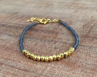 Nugget bracelet, dainty bracelet, simple bracelet, gold nugget, gray bracelet, dark gray bracelet, friendship bracelet, gray and gold, stack