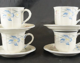Lot of 4 VILLEROY & BOCH Demitasse Cups and Saucers in the RIVIERA Pattern