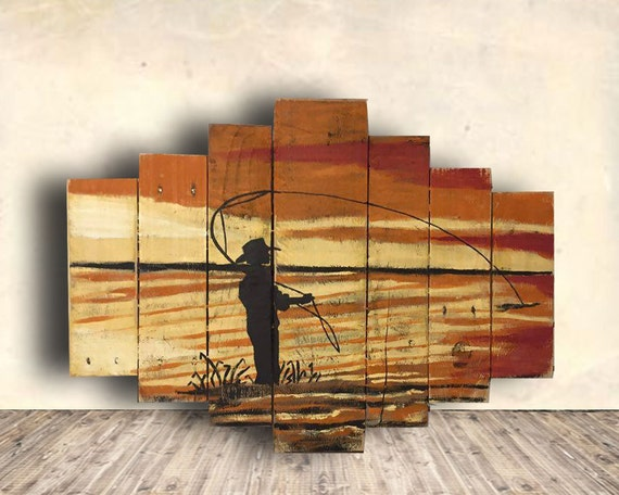Fly fishing gifts fishing sign man cave sign fisherman for Fishing decor for man cave
