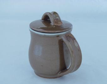 Mug with Lid #529, Coffee/Tea Cup with Lid, Handmade Pottery Mugs, Wheel Thrown Mugs, Handmade Ceramic Mugs