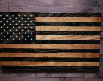 Wooden American Flag Wall Hanging challenge coin holder painted american flag military