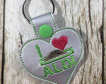 Aldi Key Fob, Aldi, Keychain, Aldi Quarter Keeper, Birthday Gift, Birthday Present, Aldi Quarter Holder, I Love Aldi, Gift for Friend