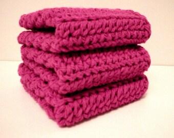 "Handmade Crochet Dishcloths Washcloths, 3-Pk, Begonia Dark Pink, About 8"" (Dishcloths6214)"
