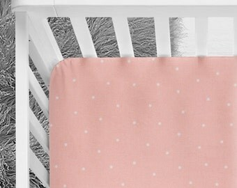 Blush and White dot crib sheet, fitted crib sheet, blush nursery, baby bedding, baby girl, blush fitted crib sheet, pink nursery, coral