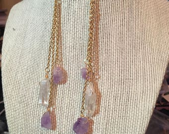 Clear quartz and amethyst earrings