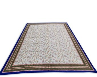 Indian Hand Block Printed Floral Design Cotton Double Bed sheet in Blue Color size 90x108""