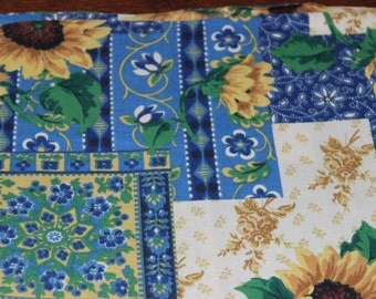 Floral fabric/Blue & Yellow fabric/Quilting fabric/100% cotton/HIGH QUALITY/ Concord fabrics