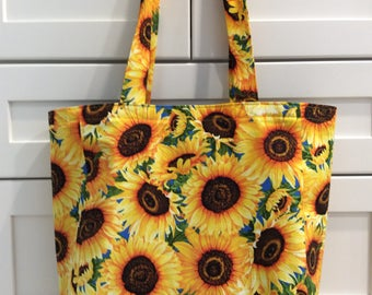 Tote Bag-Sunflowers-Tote Bag-Reusable Grocery Bag-Recycle-Market Bag-Sunflower Purse-Shopping Tote-Purse