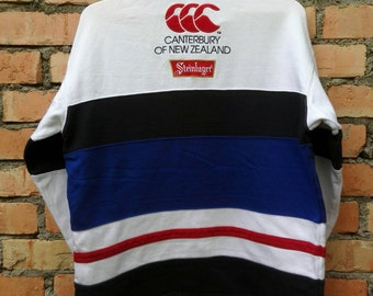Rare!!! Canterbury Of New Zealand Steinlager Rugby Sweatshirt Pullover Zip Medium Size