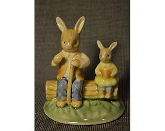 vintage miniature ceramic rabbits 7.5 cm. tall