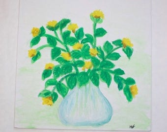 Yellow flowers in vase painting