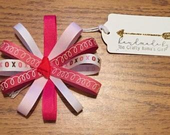 Valentine's Day hair bow/pinks and whites/hair clip/headband/handmade/customize