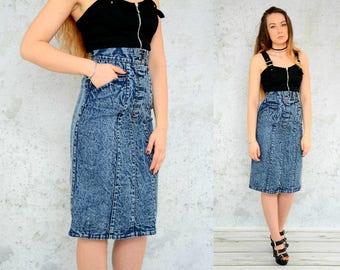 "Acid Wash Skirt VINTAGE High waisted mini pencil jean retro pockets denim 90's Marble S Small size 27"" waist"