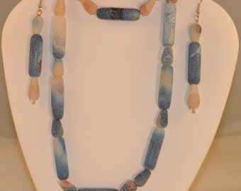 Rare Fossil Agate Necklace, Bracelet and Earrings Set