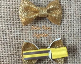Gold Glitter Bow with Clip- 2 Inch Hair Clip-  Mini Glitter Hair Clip- Glitter Bow- Glitter Hair Clip- Wholesale Hair Clips
