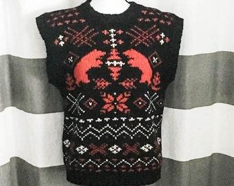 Vintage sweater vest - Women's sweater vest - Wool sweater vest - Black print sweater vest - Wool ski sweater vest - 100% wool vest