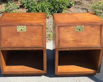 Pair of Vintage Hendredon Nightstands with drop door ~Asian Inspired~Shipping NOT included  but will assist with a quote