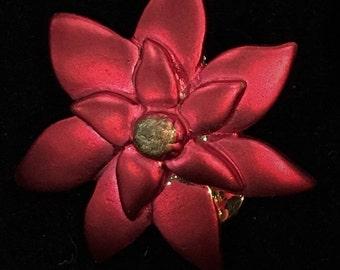 Vintage Red Poinsettia Clip Earrings