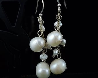 Culture White Freshwater Multiple Pearl and Sterling Silver Dangle Earrings