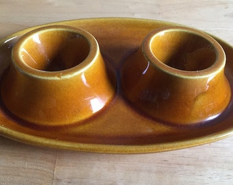 Vintage Double Egg Cup - Secia.  Made in Portugal - Pottery