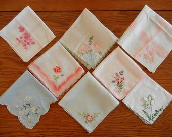 """Eight Vintage Cotton Hankies Handkerchiefs Applique, Machine Embroidery, Color Backgounds,  10"""" to 12"""" Square --Lot #17"""