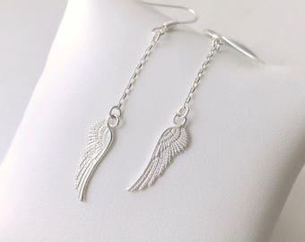 Earrings in 925 sterling silver wing pendant