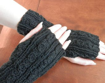 Hand knit cabled fingerless gloves