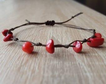 Coral chip bracelet coral red coral bracelet bracelet stone chip bracelet Red Stone bracelet