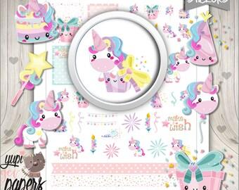 50%OFF - Unicorn Stickers, Planner Stickers, Printable Planner Stickers, Unicorn Party, Magical, Magic, Cute Unicorn, Unicorn, Stickers