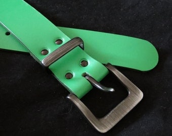 Green Leather Cowhide Belt Waistband with Gunmetal Buckle Unisex