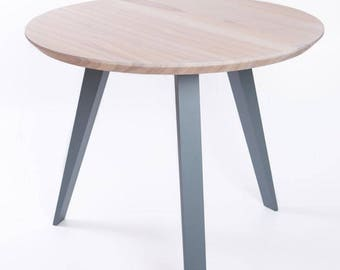 Dining table with solid surface, round table, round dining table, round kitchen table, ash wood table, design, solid wood table