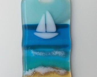 FUSED GLASS SUNCATCHER yacht at sea