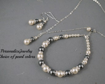 Bridesmaid jewelry set, Bridesmaid bracelet, necklace and earrings, Bridesmaid jewelry set, Pearl set, Wedding bridal party gift, Simple.