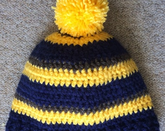 Team stripes crocheted beanie with or without bobble, football hat, rugby colours hat, crochet football hat, crochet sport bobble hat
