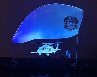 USAF Pararescue HH-60 Multicolor LED Edge Lit Acrylic Desktop Sign