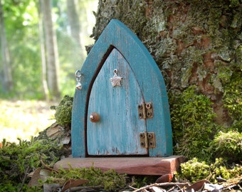 Wooden Blue Fairy Door with Doorbell, Rustic Opening Fairy Door, Pale Blue Arched Fairy Portal with Star