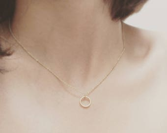 Gold Plated Mini Circle Geo Necklace