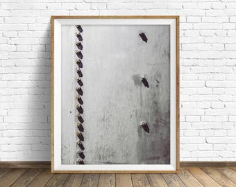 "black and white photography, large art, large wall art, instant download printable art, digital download, industrial art - ""Rivets No. 2"""