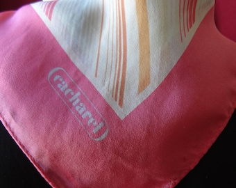 Vintage Silk Blend Cacharel Scarf Pink with White and Beige