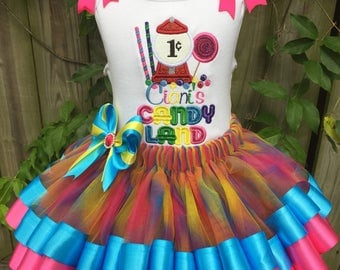 Candy Land Ribbon Tutu Outfit With Matching Bloomers