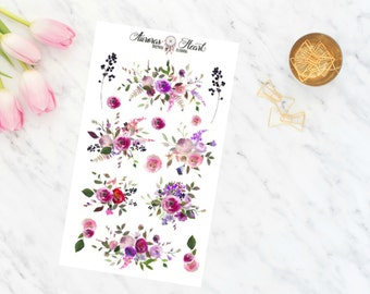 Peony & Rose soft watercolor planner stickers boho