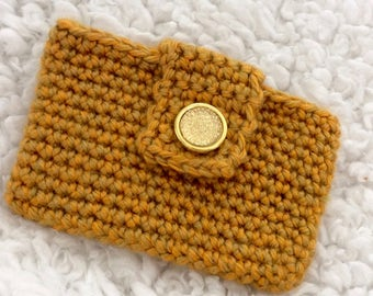 Credit Card Holder-Business Card Holder-Crochet Wallet-Crochet Purse-Card Holder-Card Holder Keychain-Mother's Day Gift-Women's Gift-Gold