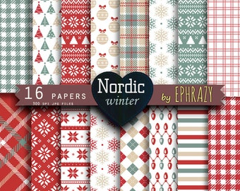 30% OFF AND MORE. Christmas digital paper. Christmas paper. Christmas. Christmas plaid. Scandinavian. Plaid digital paper. Nordic Christmas.