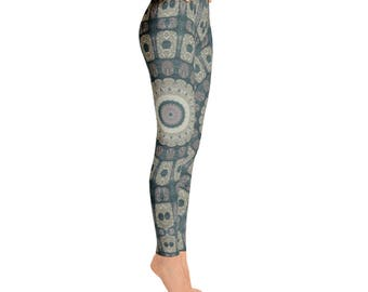 Womens Printed Leggings - Tribal Yoga Pants, Mandala Patterned Boho Leggings, Shaman Clothing