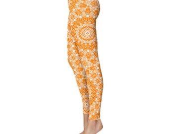 Orange Leggings - Womens Printed Leggings, Yoga Bottoms