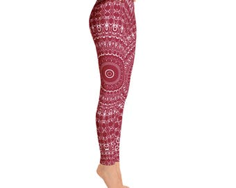 Burgundy Leggings - Red Leggings for Women, Mid Rise Yoga Pants